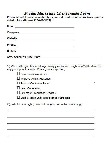 digital marketing client intake form