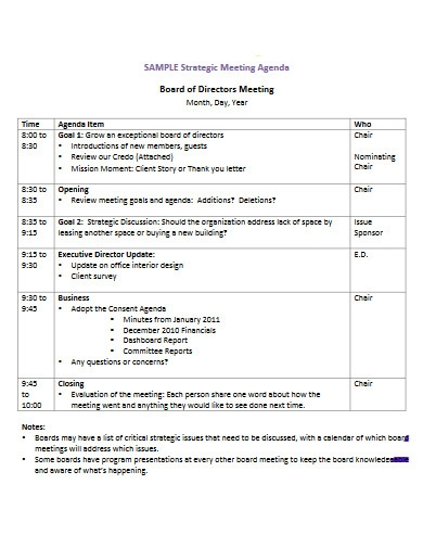 directors strategic meeting agenda