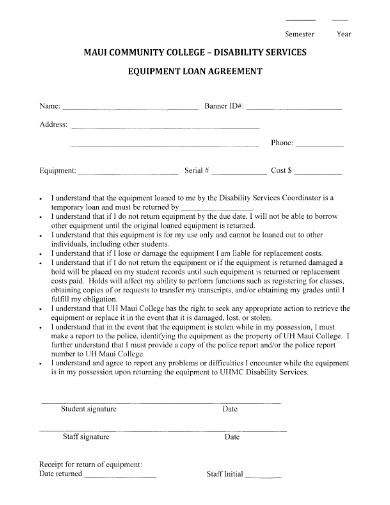 disability services equipment loan agreement