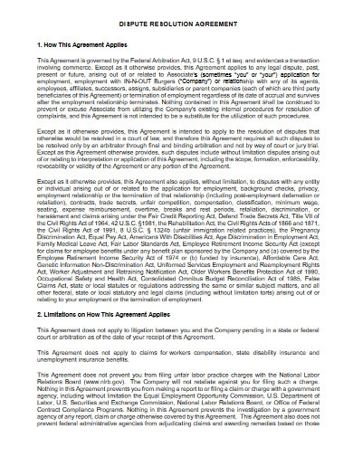 dispute resolution agreement