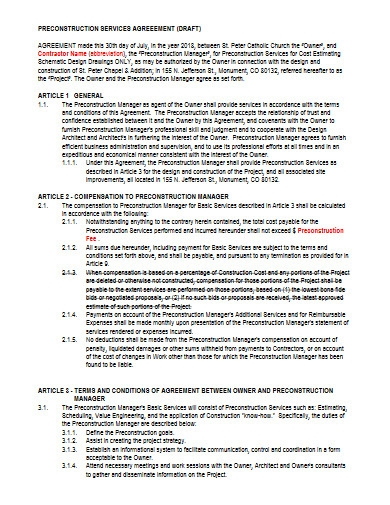 draft pre construction services agreement