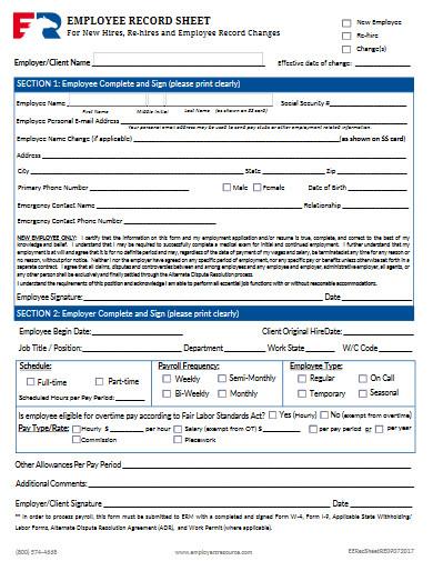 employee record sheet