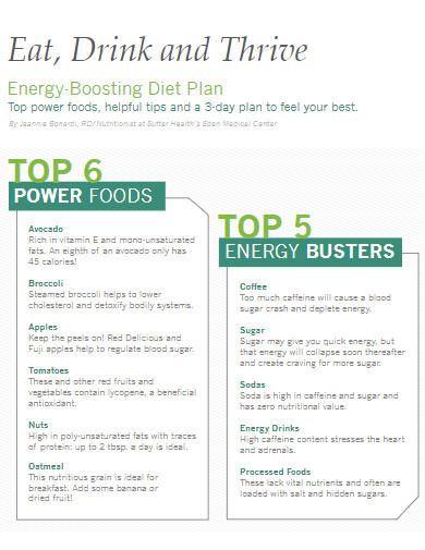energy boosting diet plan