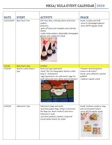 event calendar example