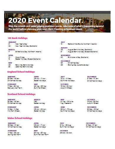 event calendar in pdf