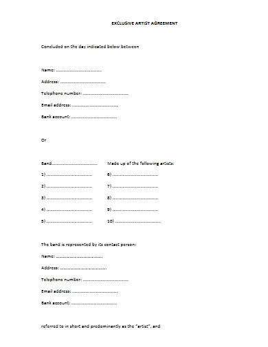 exclusive artist agreement example