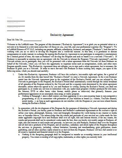 exclusivity agreement example
