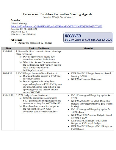 facilities committee meeting agenda