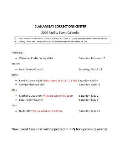 facility event calendar