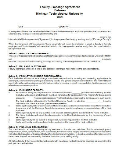 faculty exchange agreement