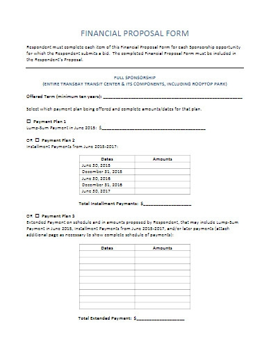 financial proposal form