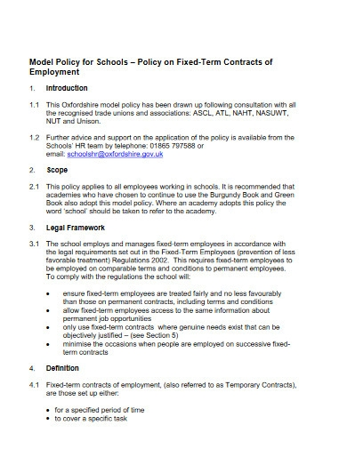 fixed term school teachers contract