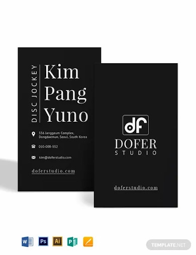 flat dj business card template