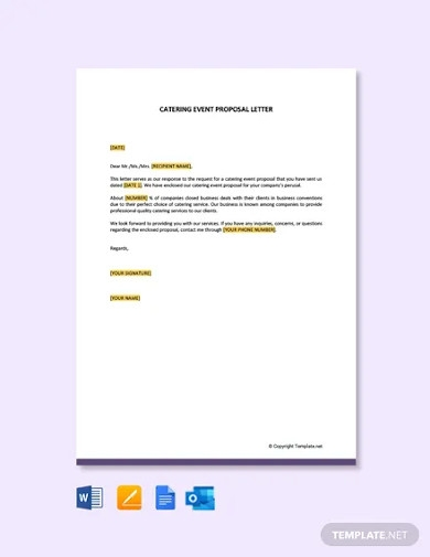 free catering event proposal letter