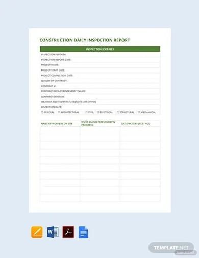 free construction daily inspection report