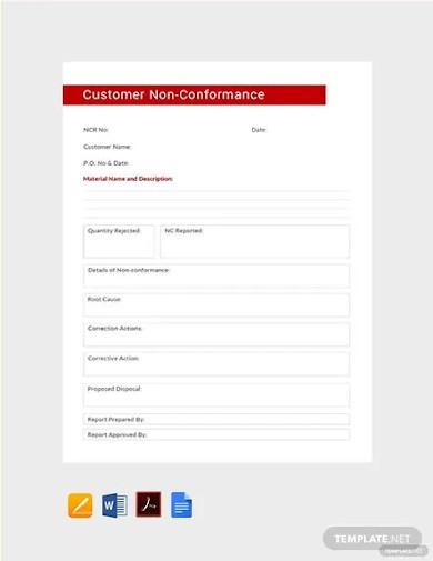 free customer non conformance report template