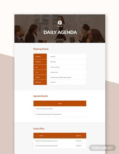 free daily agenda template