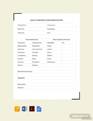 free daily construction work report template