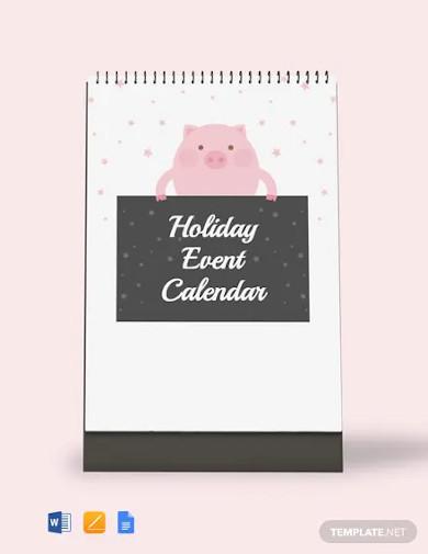 free holiday event desk calendar template