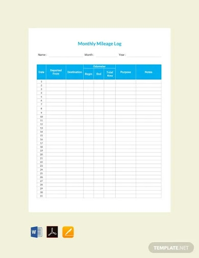free mileage log for employee template