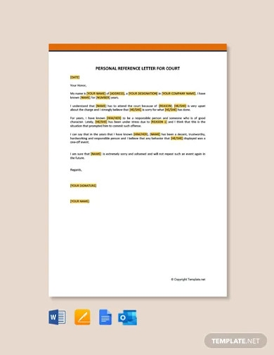 free personal reference letter for court