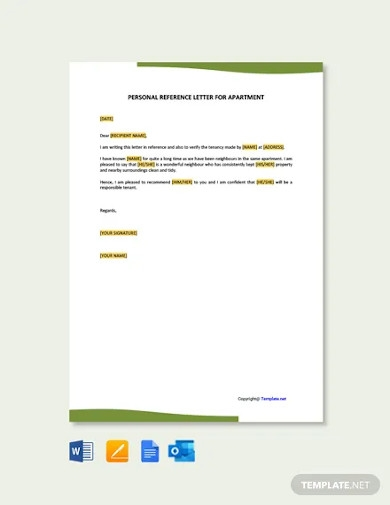 free personal reference letter for apartment