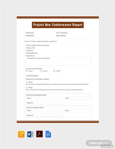 free project non conformance report template