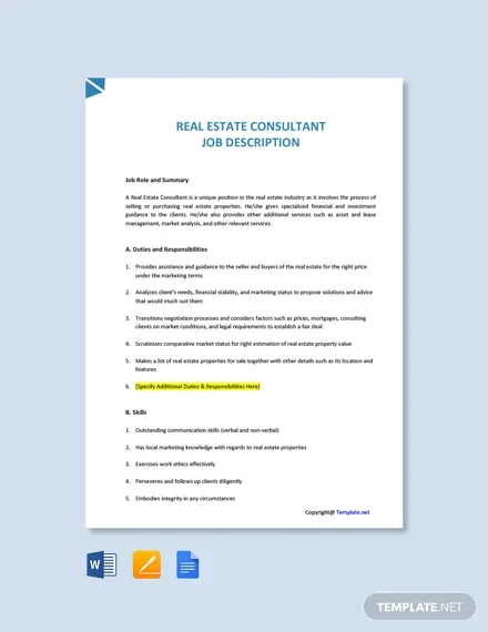 free real estate consultant job description template