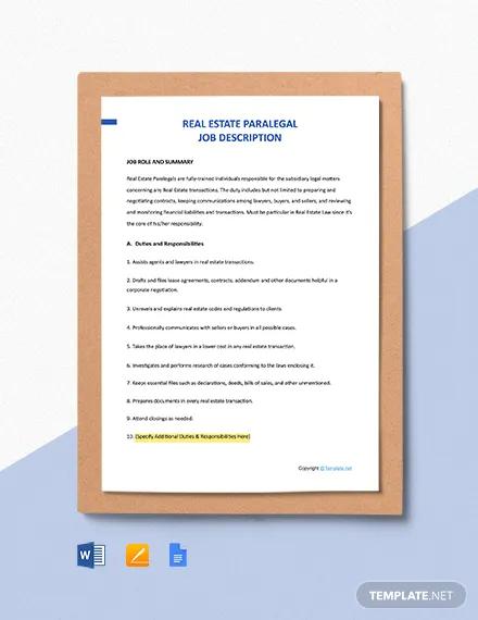 free real estate paralegal job description template