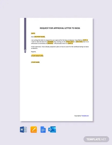 free request for approval letter to boss