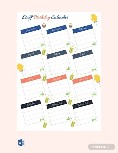 free staff birthday calendar template