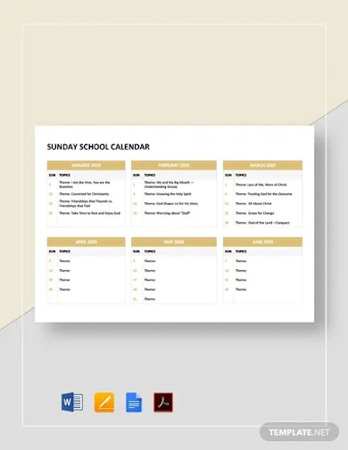 free sunday school calendar template