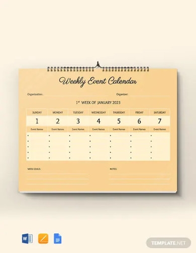 free weekly event desk calendar template