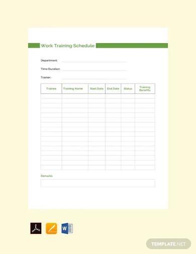 free work training schedule