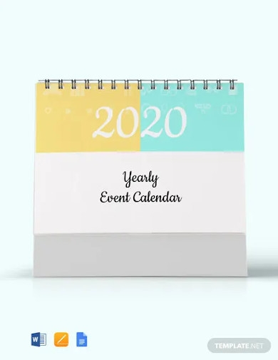 free yearly event desk calendar template