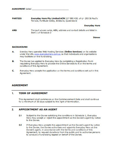 fundraising agreement example
