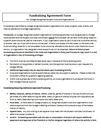 fundraising agreement form