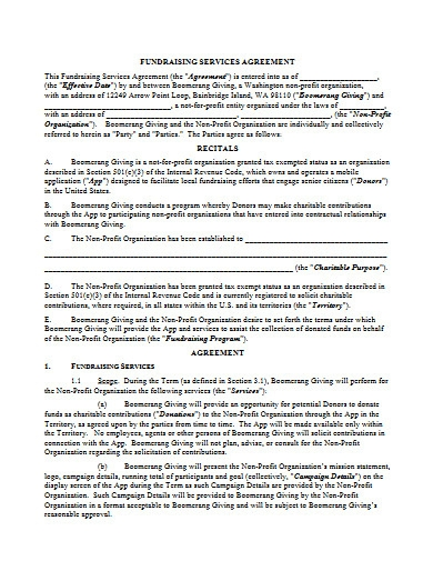 fundraising services agreement