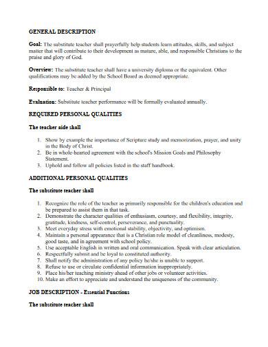 general substitute teacher job description