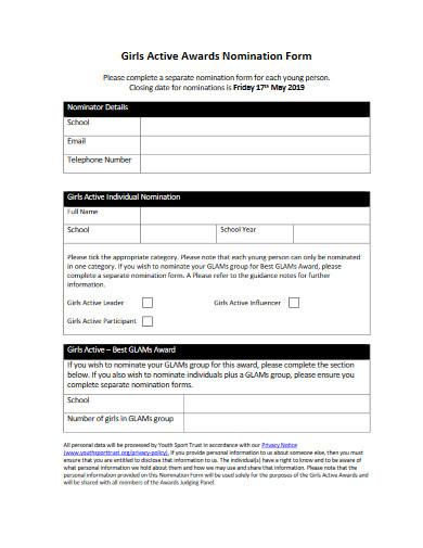 girls active awards nomination form