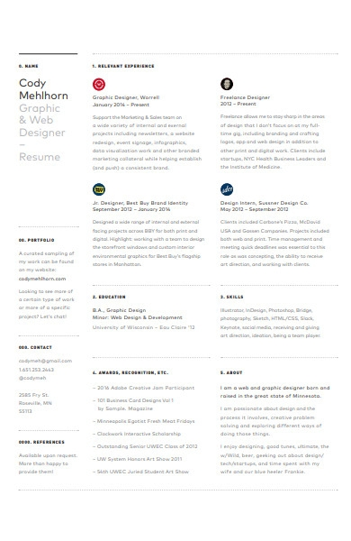 graphics designer resume example