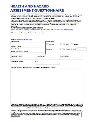 hazard assessment questionnaire form