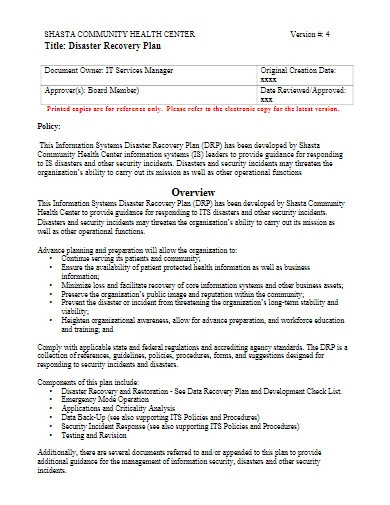 health center disaster recovery plan