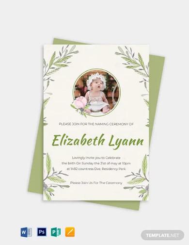 heartfelt baby naming ceremony invitation