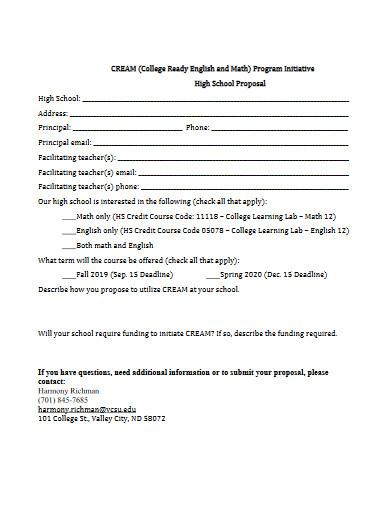 high school proposal