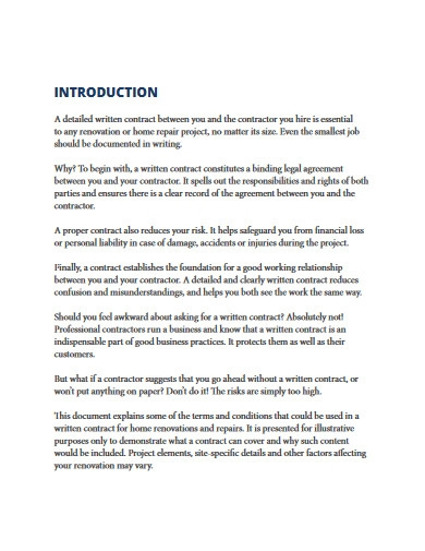 homeowner renovation contracts