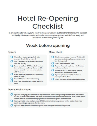 hotel re opening checklist