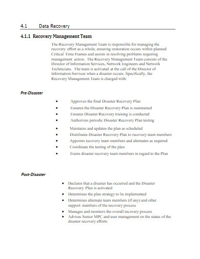 it disaster recovery plan in pdf