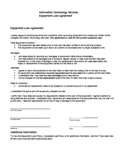 it services equipment loan agreement