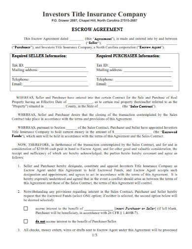 insurance company escrow agreement